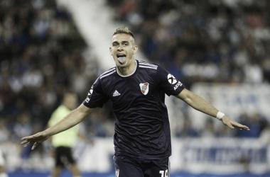 El festejo de Borré, que está intratable: siete goles en los últimos ocho partidos jugados (Foto: Clarín).