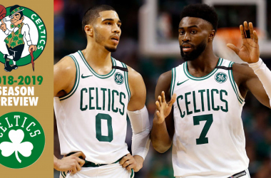 Boston Celtics forward Jayson Tatum (0) and Boston Celtics guard Jaylen Brown (7) talk during the third quarter against the Cleveland Cavaliers in game five of the Eastern conference finals of the 2018 NBA Playoffs. |Greg M. Cooper-USA TODAY Sports|