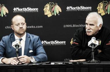 Stan Bowman y Joel Quenneville Foto NHL.com