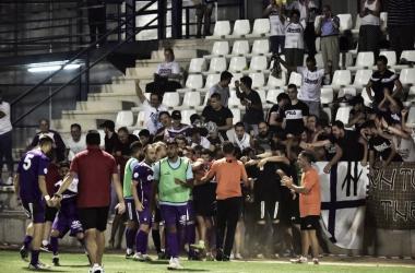 La afición y jugadores del Real Jaén celebran el pase de ronda (Real Jaén - Best Photo Soccer)