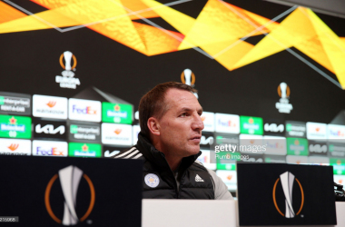 LEICESTER, ENGLAND - FEBRUARY 17: Leicester City Manager Brendan Rodgers during the Leicester City press conference at Leicester City Training Ground, Seagrave on February 17th, 2021 in Leicester, United Kingdom. (Photo by Plumb Images/Leicester City FC via Getty Images)