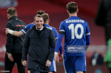 LONDON, ENGLAND - APRIL 18: Manager Brendan Rodgers of Leicester City with James Maddison after their sides 1-0 win during the Semi Final of the Emirates FA Cup match between Leicester City and Southampton FC at Wembley Stadium on April 18, 2021 in London, England. 4000 local residents have been permitted to attend the match as part of the government's Events Research Programme, which will study how to safely hold major events once coronavirus lockdown measures are eased. Other sporting events around the United Kingdom continue to be played behind closed doors. (Photo by Robin Jones/Getty Images)
