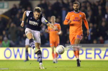 Tom Bradshaw of Millwall scores his team's second goal during the Sky Bet Championship match between Millwall FC and Cardiff City at The Den on October 22, 2019 in London, England. (Photo by James Chance/Getty Images)<br>