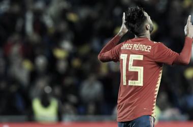 Brais Méndez celebra su debut en la Selección Española con gol. Foto: AFP
