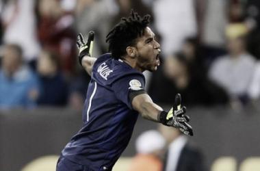 Perus Torwart Gallese jubelt über den Treffer des Tages. | Quelle: Copa América