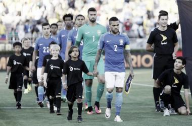 Brasil na partida contra o Equador, no Rose Bowl (Foto:Rafael Ribeiro / CBF)