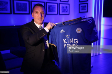 Brendan Rodgers is presented as the new Leicester City manager | Photo: Getty/ Plumb Images
