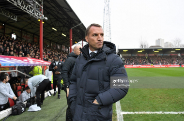 BRENTFORD, ENGLAND - JANUARY 25: Brendan Rodgers, Manager of Leicester City looks on prior to the FA Cup Fourth Round match between Brentford FC and Leicester City at Griffin Park on January 25, 2020 in Brentford, England. (Photo by Michael Regan/Getty Images)
