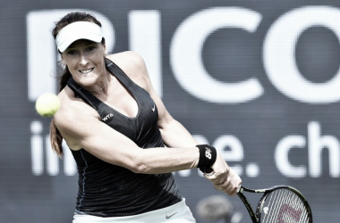 Madison Brengle hits a backhand on day three at the Ricoh Open. Photo: Ricoh Open