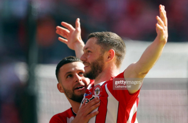 Henrik Dalsgaard and Emiliano Marcondes celebrate as Brentford confirm promotion to the Premier League at Wembley vs Swansea City in the Sky Bet Championship play-offs.&nbsp;<div>(Photo by Catherine Ivill via Getty Images)&nbsp;</div>