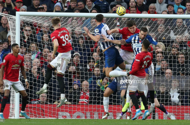 <div>Manchester United v Brighton & Hove Albion - Premier League</div><div>MANCHESTER, ENGLAND - NOVEMBER 10: Lewis Dunk of Brighton and Hove Albion scores their first goal during the Premier League match between Manchester United and Brighton & Hove Albion at Old Trafford on November 10, 2019 in Manchester, United Kingdom. (Photo by John Peters/Manchester United via Getty Images)</div>