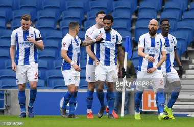 Brighton celebrating their second goal of the afternoon image courtesy of Mike Hewitt on Getty Images.