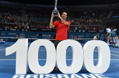 Federer won his 1000th match in the final last year in Brisbane. Photo: EPA/Dave Hunt