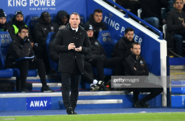 Brendan Rodgers during the defeat to Newcastle United | Photo: Getty/ Michael Regan