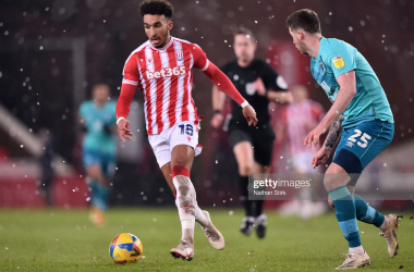 Jacob Brown of Stoke City runs with the ball during the Sky Bet Championship match between Stoke City and AFC Bournemouth at Bet365 Stadium last season. (Photo by Nathan Stirk/Getty Images)