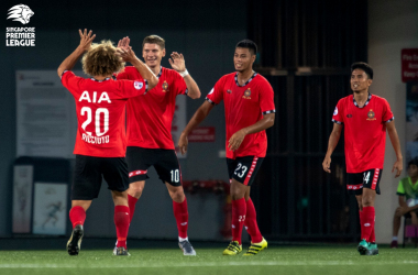 Varankou and Ricciuto put Geylang to the sword at Our Tampines Hub yesterday (Photo credit: Football Association of Singapore)