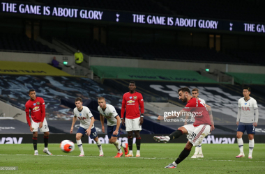 <div>Tottenham Hotspur v Manchester United - Premier League</div><div>LONDON, ENGLAND - JUNE 19: Bruno Fernandes of Manchester United scores their first goal during the Premier League match between Tottenham Hotspur and Manchester United at Tottenham Hotspur Stadium on June 19, 2020 in London, England. (Photo by Matthew Peters/Manchester United via Getty Images)</div><div><br></div>