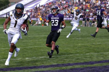Bryce Treggs waltzes into the end zone for a touchdown (Chris Sweda / Chicago Tribune)