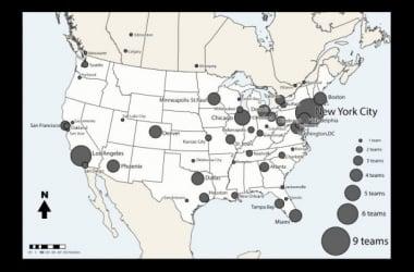 Mapa de Norteamérica con las distintas franquicias | wikipedia.org
