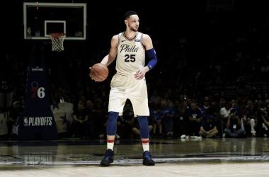 Ben Simmons, 17 punti, 14 assist, 9 rimbalzi contro gli Heat. Fonte: NBA/Twitter