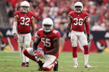 <span>Free safety Tyrann Mathieu #32, outside linebacker Chandler Jones #55 and safety Budda Baker #36 of the Arizona Cardinals during the NFL game against the San Francisco 49ers at the University of Phoenix Stadium on October 1, 2017 in Glendale, Arizona. |</span><span>Christian Petersen/Getty Images North America|</span>