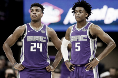Sacramento Kings' Buddy Hield and De'Aaron Fox during the second half of an NBA basketball game against the Washington Wizards, Sunday, Oct. 29, 2017, in Sacramento, Calif. |AP Photo/Rich Pedroncelli|