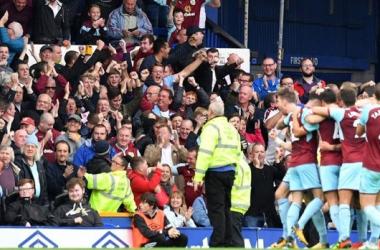 El Burnley celebrando el 0-1 contra el Everton (Fuente: Burnley FC)