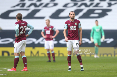 LONDON, ENGLAND - FEBRUARY 28: Dejection for Burnley after going 2-0 down during the Premier League match between Tottenham Hotspur and Burnley at Tottenham Hotspur Stadium on February 28, 2021 in London, United Kingdom. (Photo by Rob Newell - CameraSport via Getty Images)