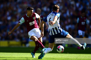 Burnley's Matt Lowton and Brighton's Dale Stephens battle for possession in Saturday's 1-1 draw at the Amex (Photo: Getty Images: Alex Broadway)