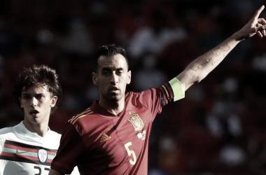 Sergio Busquets en el duelo ante Portugal. // Imagen: Agencia EFE.