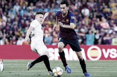 Sergio Busquets, durante el partido | Foto: FCB
