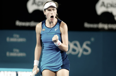 Johanna Konta celebrates after defeating Eugenie Bouchard during their semifinal match in Sydney. Photo:Jimmie48 Tennis Photography