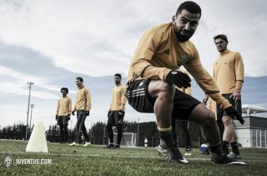 Tomás Rincón en un trabajo de su primera práctica en la Juventus / Foto: Juventus.com