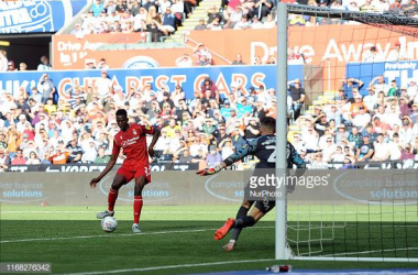 SWANSEA, WALES - SEPTEMBER 14: Brice Samba of Nottingham Forest in action during the Sky Bet Championship match between Swansea City and Nottingham Forest at the Liberty Stadium on September 14, 2019 in Swansea, Wales. (Photo by Athena Pictures/Getty Images)