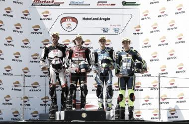 Podio FIM CEV Repsol, Moto2, Motorland. Foto: FIMCEVRepsol.com