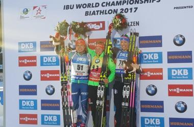 The podium following the women's Individual Event in Hochfilzen (image source: IBU)