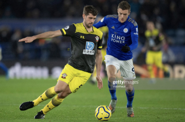 LEICESTER, ENGLAND - JANUARY 11: Jack Stephens of Southampton and Jamie Vardy of Leicester City in action during the Premier League match between Leicester City and Southampton FC at The King Power Stadium on January 11, 2020 in Leicester, United Kingdom. (Photo by Visionhaus)