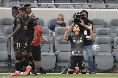 Above: Eduard Atuesta #20 of Los Angeles FC reacts after scoring on a free kick against the Seattle Sounders during the first half at Banc of California Stadium on April 24, 2021 in Los Angeles, California. (Photo by Michael Owens/Getty Images)