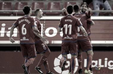 Jugadores del Numancia celebran un gol esta temporada | Foto: LaLiga