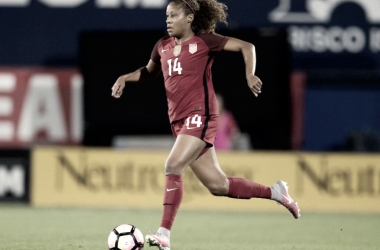 Defender Casey Short for the USWNT in the SheBelieves Cup | Source: Chicago Red Stars Twitter - @ChicagoRedStars