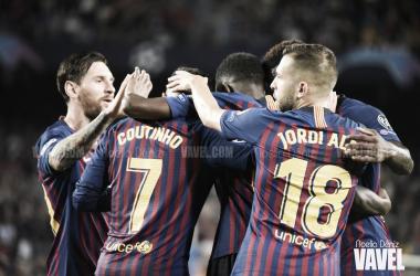 Los jugadores del Barça celebrando su gol | Foto: Noelia Déniz (Vavel)