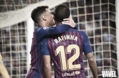 Coutinho y Rafinha celebrando su gol ante el Inter | Foto: Noelia Déniz (Vavel)