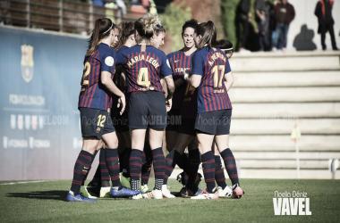 Las jugadoras del Barcelona celebrando un gol en la pasada jornada   Foto: Noelia Déniz (VAVEL)