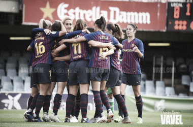 Las jugadoras del Barcelona Femenino celebrando un gol | Foto: Noelia Déniz (VAVEL)