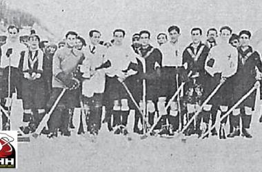 HC Madrid (negro) contra HC Milano (Blanco) en Davos 31 de diciembre de 1924