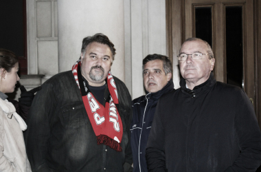 Onolfo, Cervera y Pellicer en la última manifestación del CF Reus | Foto: Ramon Tella (VAVEL)
