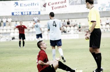 Sergio León protestando una ocasión durante su etapa en el CF Reus Deportiu | Foto: CF Reus