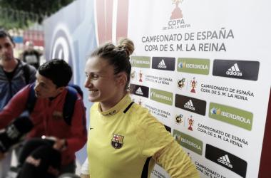 Sandra Paños en la zona mixta tras el Athletic Club - FC Barcelona | Foto: Andreu Rauet (Vavel)
