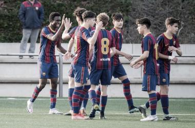 El FCB Cadete B celebrando un gol esta temporada. Foto: FC Barcelona