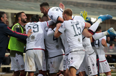 Cagliari players celebrate Oliva's goal. Getty Images/Emilo Andreoli
